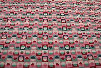 Baumwollstoff Kreise weiß türkis pink
