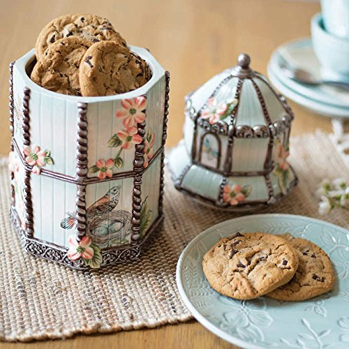 sh Garden 14-Inch Cookie Jar with Lid, Features Nature Inspired Pastel Blue Background with Floral Accents ()