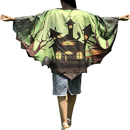 Qiusa Halloween Mujeres Novedad Calabaza Imprimir Cabo Bufanda Poncho mantón Abrigo Bat Ropa (Color :