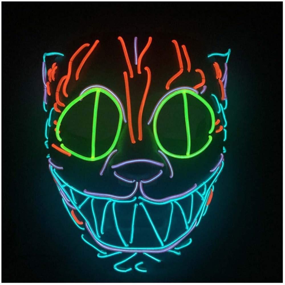 SPFAZJ Halloween schwere Arbeiten Bauen Katze Kopf Tier Modell EL Kaltes Licht LED Glow Maske