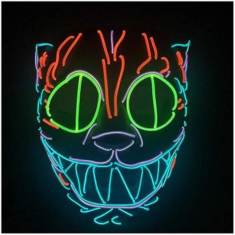 SPFAZJ Trabajo Pesado de Halloween Construir Gato Cabeza Animal Modelo El luz Led Glow máscara fría
