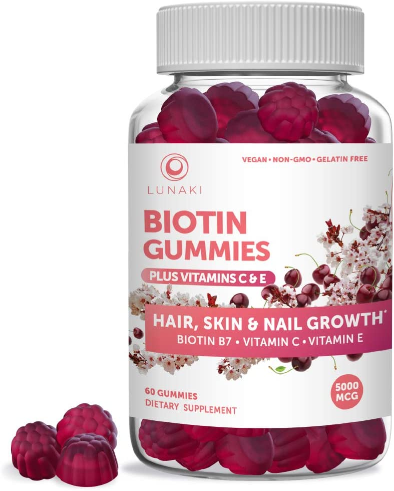 Lunaki Biotin Hair Skin & Nails Gummies with Vitamin C & E - Non-GMO Vegan No Corn Syrup Gummy Promotes Natural Collagen, Keratin & Hair Growth 30 Day Supply