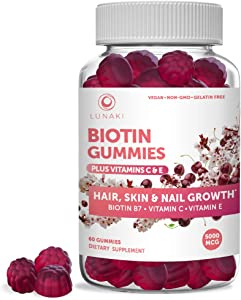 Lunaki Biotin Hair Skin & Nails Gummies with Vitamin C & E - Non-GMO Vegan No Corn Syrup Gummy Promotes Natural Collagen, Keratin & Hair Growth 30 Day Supply