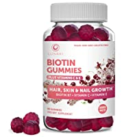 Lunaki Biotin Hair Skin & Nails Gummies with Vitamin C & E - Non-GMO Vegan No Corn...
