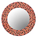 NOVICA Decorative Glass Wall Mounted Mirror, Brown and Orange 'Triangle Energy'