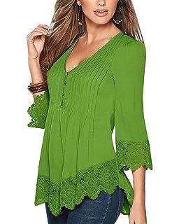 Mujer De Encaje Empalme Escote V Casual Elástico Manga Larga Camisas Blusas Suelto Verano