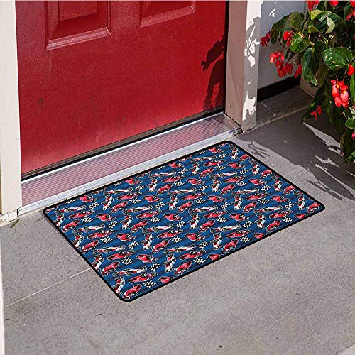 Reversible Patio Mat Racing - Gloria Johnson Cars Commercial Grade Entrance mat Vintage Racing Cars on Blue Stripes with Checkered Flags Automobile Sports for entrances garages patios W29.5 x L39.4 Inch Navy Blue Red Black