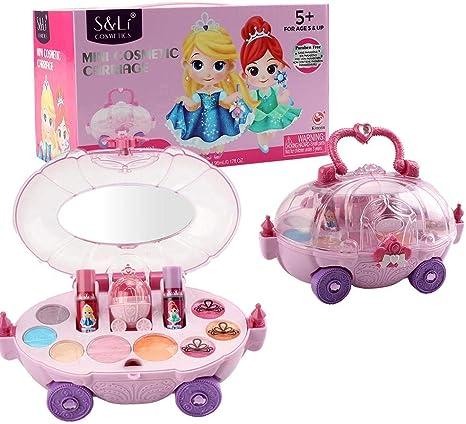 Kitabetty juguete de maquillaje para niños, Kit de maquillaje real lavable no tóxico para niños Juego de cosméticos para niñas, juego de vestir para niñas, juguetes de maquillaje, para niños niñas: Amazon.es: