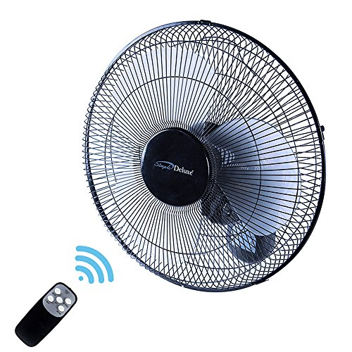 Heavy Duty Quiet 16-Inch Digital Wall Mount Oscillating Fan with Remote by Simple Deluxe