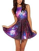 Voglee Fashion Galaxy Purple Skater Dress