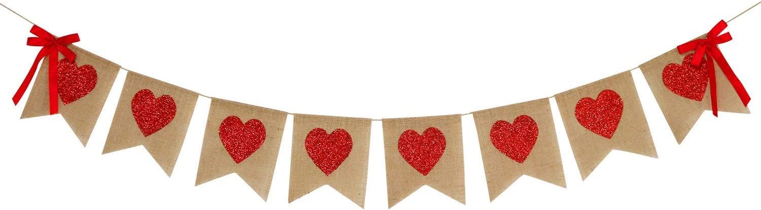Burlap Heart Banner Garland | Red Glitter Heart | Valentine's Day Decorations| Rustic Valentines Decor | Valentines Burlap Banner | Wedding Anniversary Birthday Party Decorations Supplies
