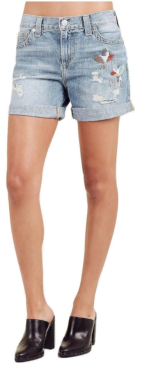 87569cee95 Top12: True Religion Women's Jayde Embroidered Denim Jean Shorts w/Flap In  Destroyed Blue Birds