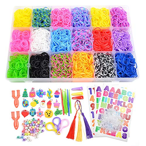 7100+ Rainbow Rubber Bands Mega Refill Kits For Bracelets, Loom Rubber Bands Set Include:6500+ Loom Bands + 600 Clips + 6 Crochet Hooks + 50 Beads + 15 Charms + 3 Tassels +3 Backpack Hook + 3 Hair