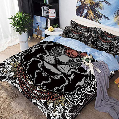 Bedding Sheets Set 3-Piece Bed Set,Forest Jungle Emperor Safari Animal Lion with Medieval Design Frame Print Decorative,Queen Size,Include 1 Quilt Cover+2 Pillow case,Grey White Coral Black Animal Print Design Planters