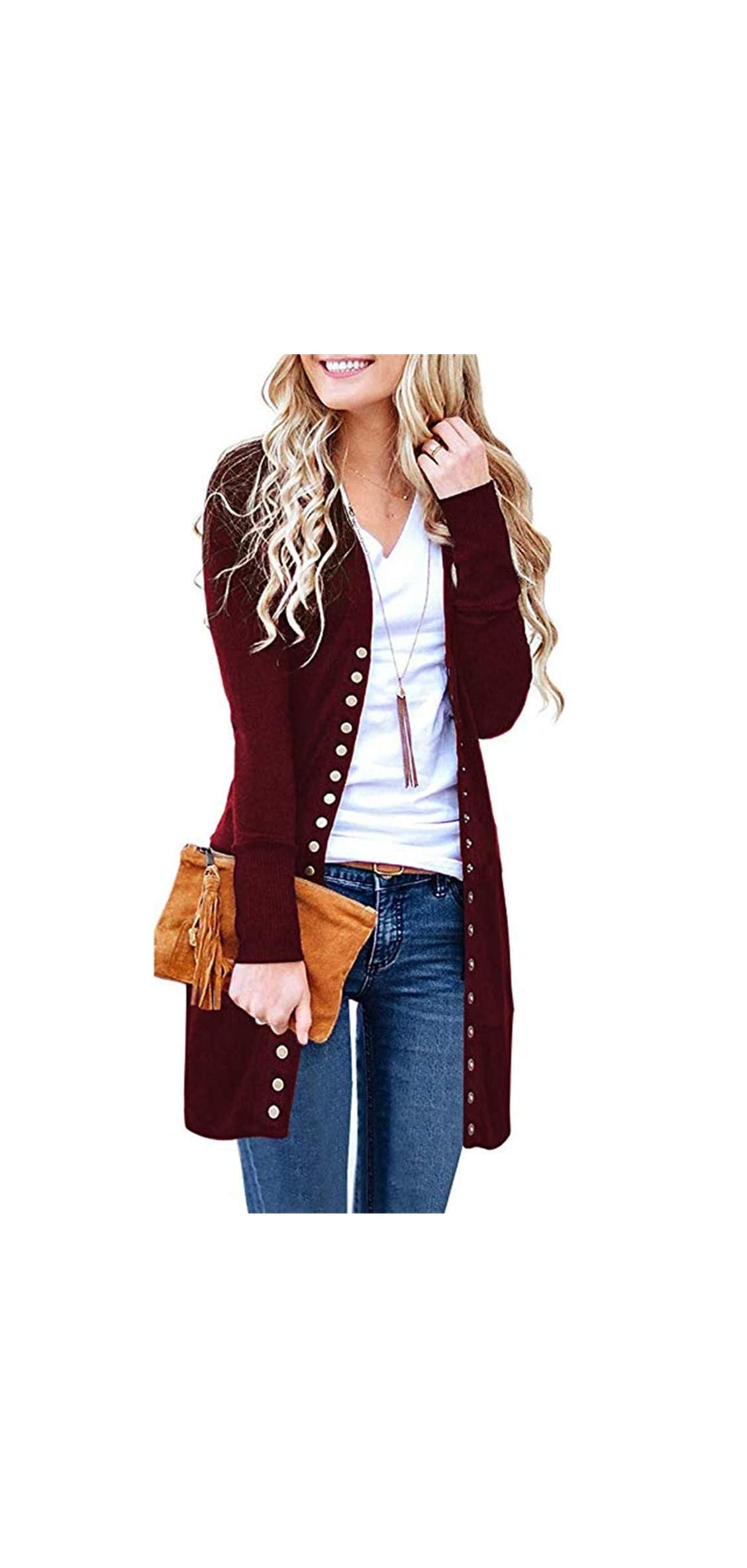 Womens Solid V Neck Button Down Knitwear Long Sleeve Snap