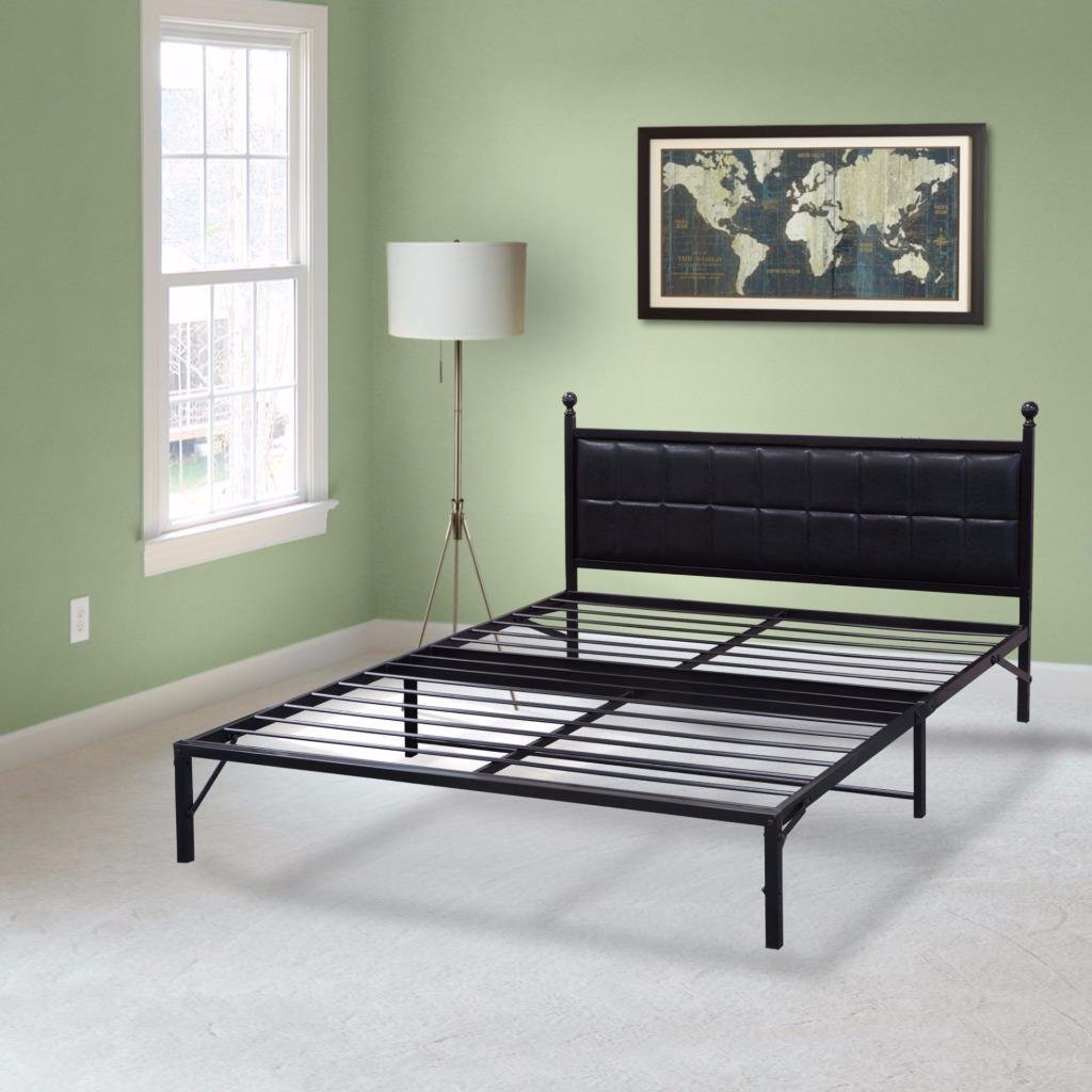 Best Price Mattress Model L-Plus Easy Set-up Steel Platform Bed with headboard, Full Box Spring Replacement Sturdy and Durable Steel slats Black Metal Bed Frame Modern Design