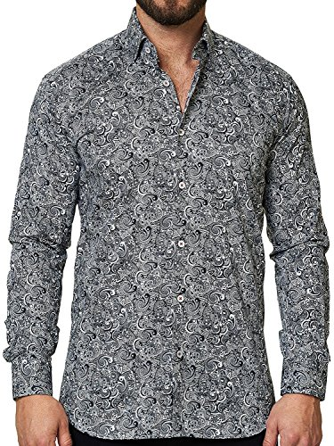 Paisley Fitted Shirt (Maceoo Mens Designer Dress Shirt - Stylish & Trendy- Paisley Grey - Tailored Fit)
