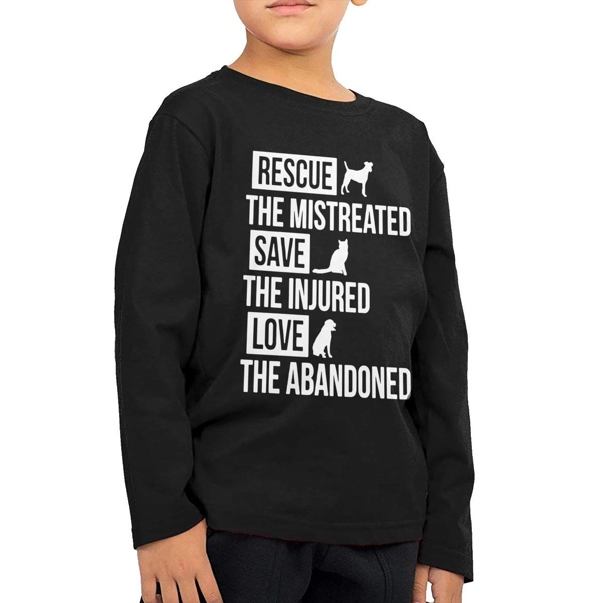 Little Girls Dog Rescue Cat Rescue Love The Abandoned ComfortSoft Long Sleeve Tee