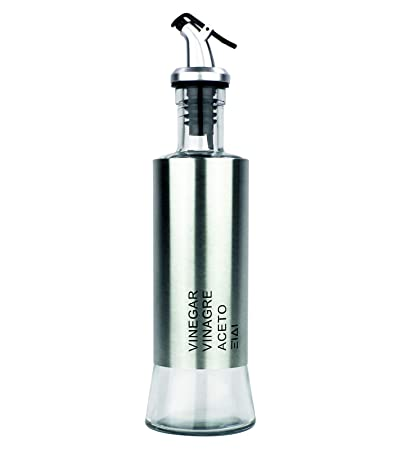 FUREIN Aceitera Vinagrera Antigoteo 2 en 1 De Cristal y Acero Inoxidable/Menaje de Cocina (200ml)