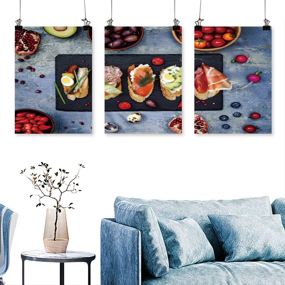 SCOCICI1588 3 Panel Canvas Wall ArtMini s dwiches Foo Set brushetta or authenti Traditional sp ish Tapas for Wall Decor Home Decoration No Frame 30 INCH X 60 INCH X 3PCS