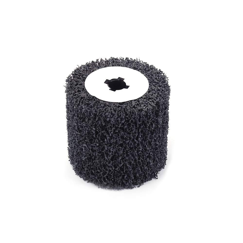 Join Ware 90x100mm Black Poly Abrasive Flap Wire Drawing Polishing Burnishing Wheel for Metal Cleaning Rust Removal