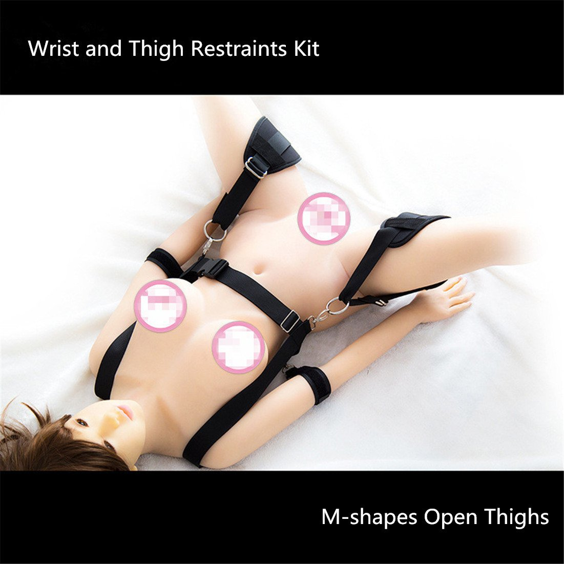 Restraints Kit, Runsmooth Nylon Wrist and Thigh Restraints Belts Couples Role Play Bed Bondage Belts, Black