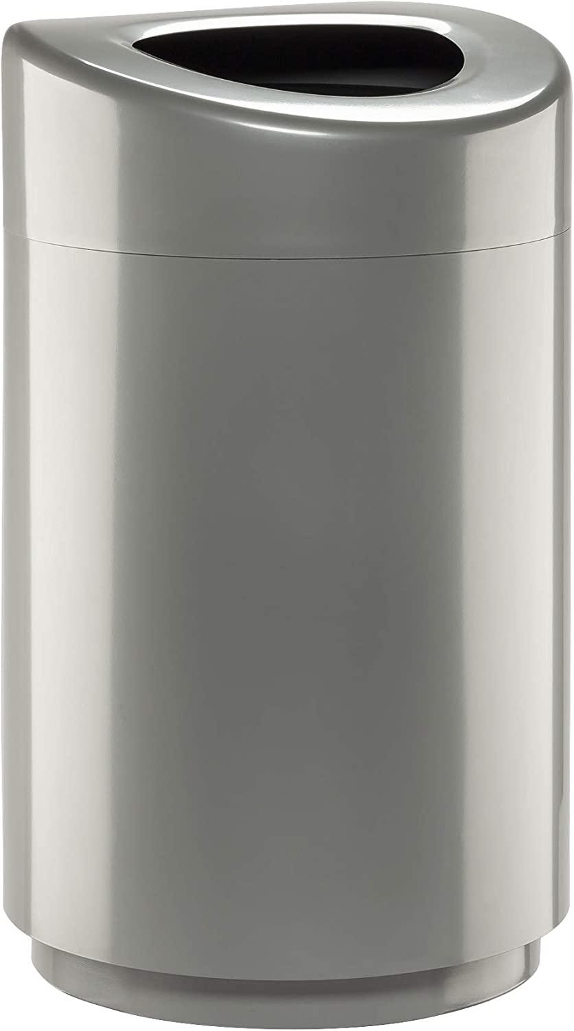 Safco Products Open Top Trash Receptacle with Liner 9920SL, Silver, 30 Gallon Capacity, Hands-Free Disposal, Modern Styling