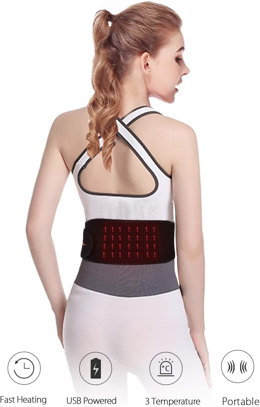 Heating Waist Belt Far Infrared USB Powered, Portable Electric Heating Waist Pad with Graphene Fast Heating Film, 3 Temperature Settings, Can Warm Waist or Belly