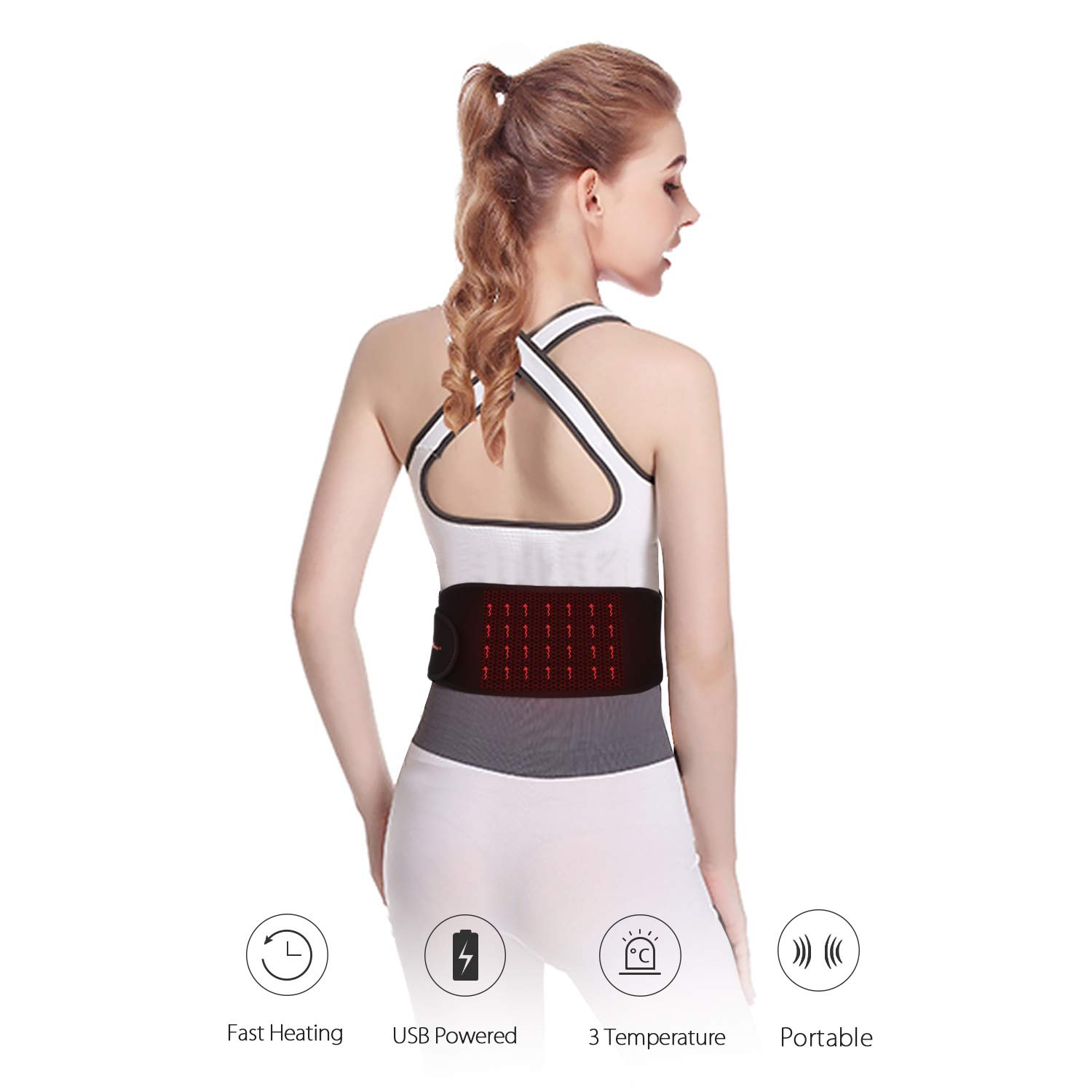 USB Powered Far Infrared Portable Waist Electric Heating Pad Belt W/Graphene Fast Heating Film, 3 Temperature Settings, Perfect for The Back Abdominal Stomach Cramps Arthritic Pain Relief