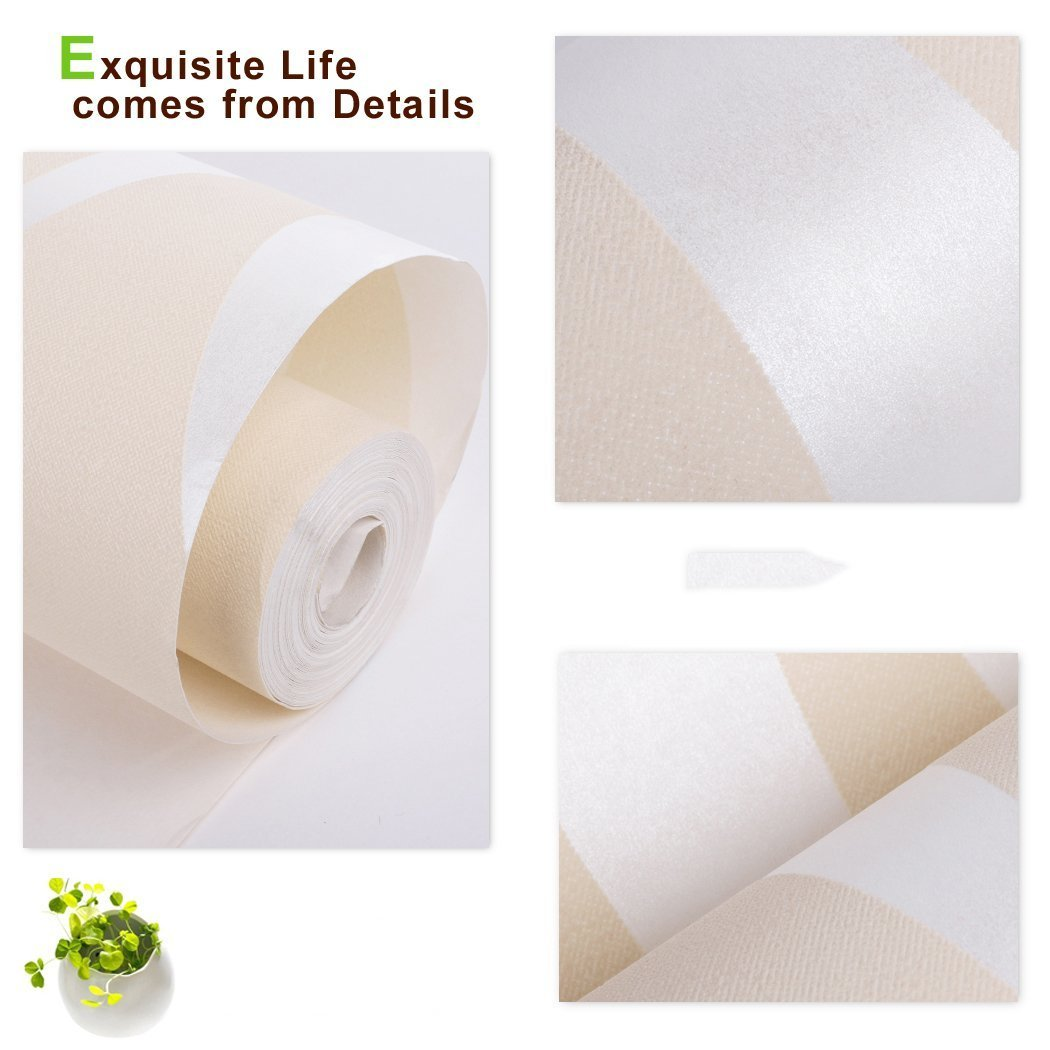 Oanon 3D beige Non Stick Wallpaper Non-woven Wallpaper Roll, Luxury Background Wallpaper Contemporary Wallpaper by Oanon (Image #6)