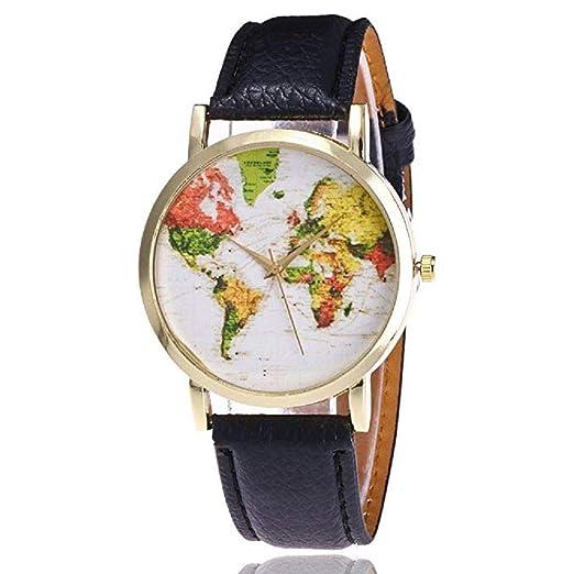 Mapa de Mujer Relojes Liquidación Relojes analógicos Femeninos a la Venta Relojes de Pulsera Relojes de Cuero para Dama (Verde): Amazon.es: Relojes