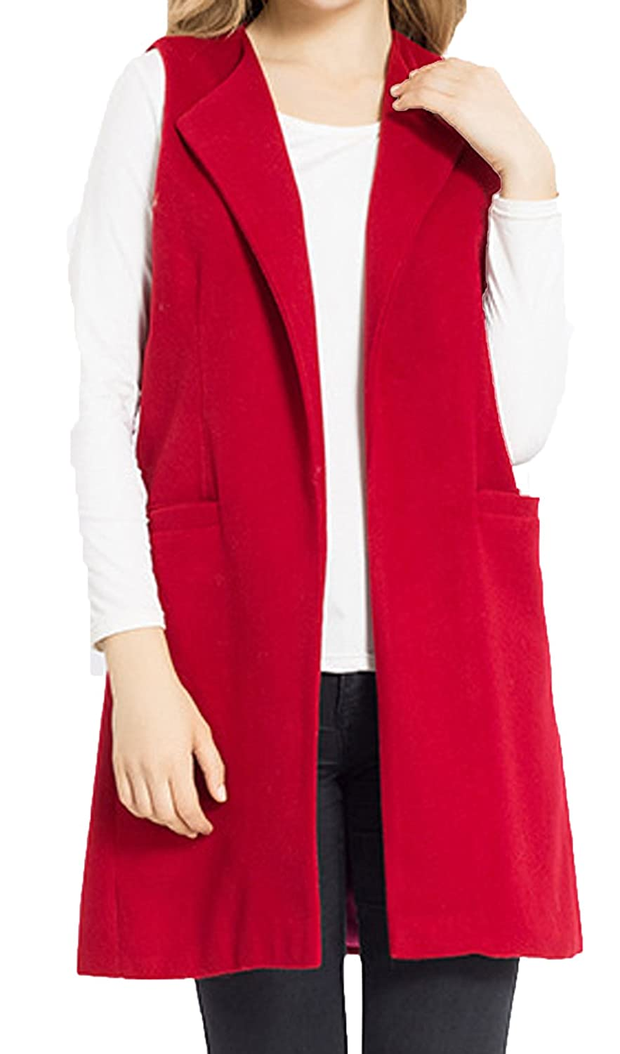 JOKHOO Women's Wool Blend Sleeveless Long Vest Jacket Longline Slim Waistcoat