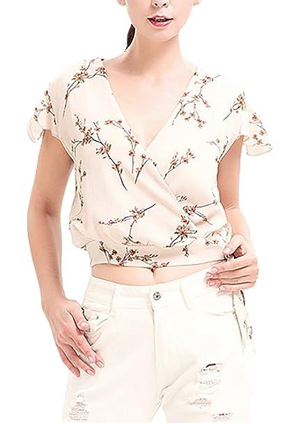 Camisetas Mujer Manga Corta Verano Elegantes Gasa Estampadas De Flores Fiesta Cortas Blusa V Cuello Slim