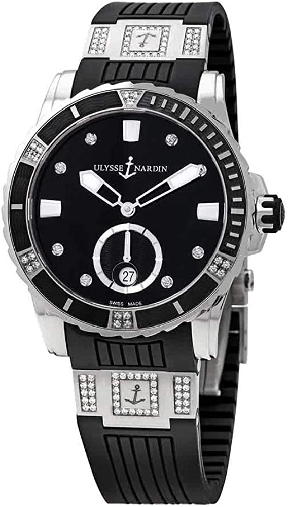 Ulysse Nardin Diver Black Diamond Dial Automatic Ladies Watch 3203-190-3C/12.12