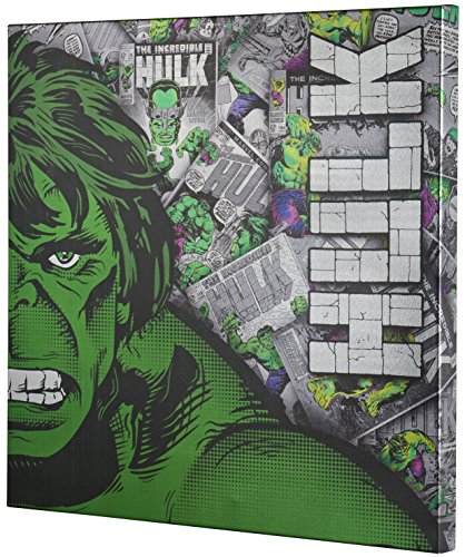 Marvel Hulk Retro XL Metallic Canvas Comic superhero wall Art, 25x25 Edge Home (Metallic Wall)