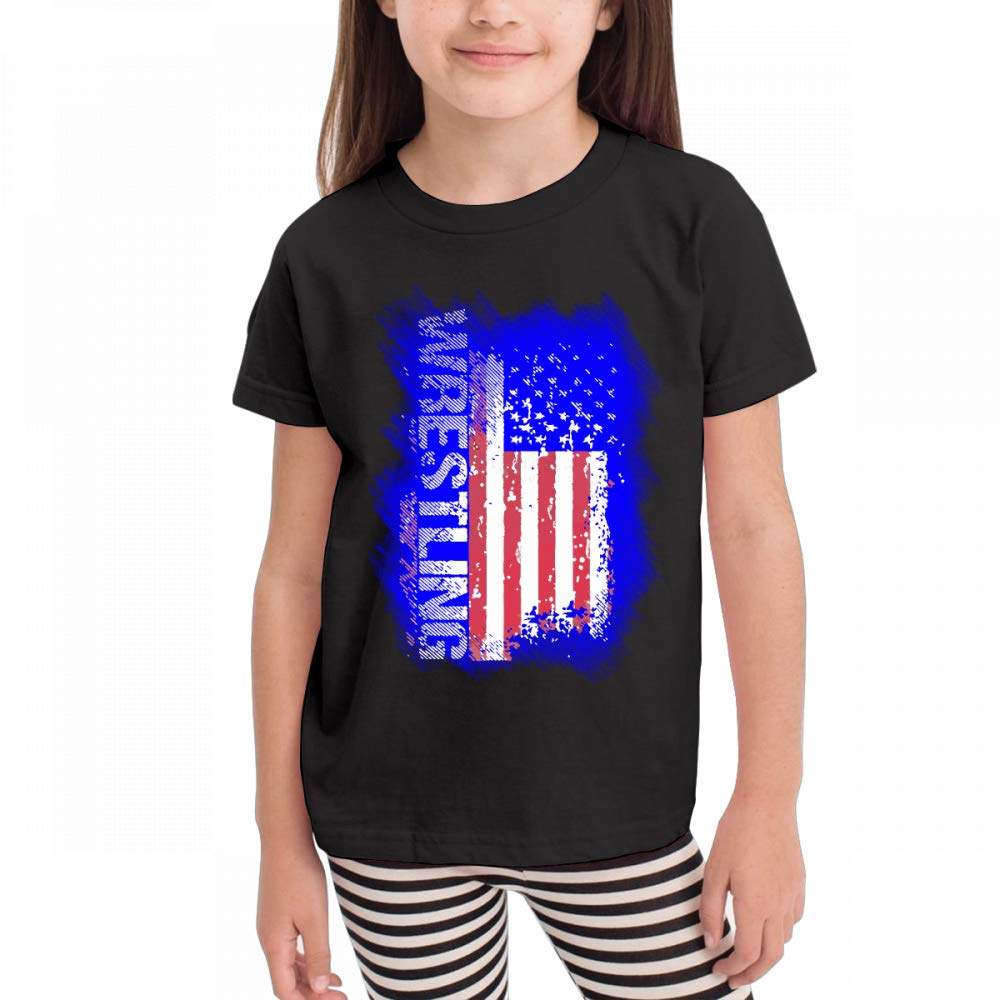Antonia Bellamy Wrestling American Flag Aged Kids Short Sleeve Crew Neck Graphic T-Shirts Tops