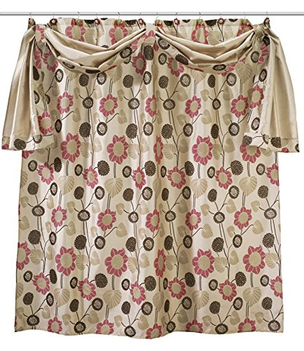 Popular Home The Lillian Collection S-Curtain with Scarf, 70 by 72″, Beige