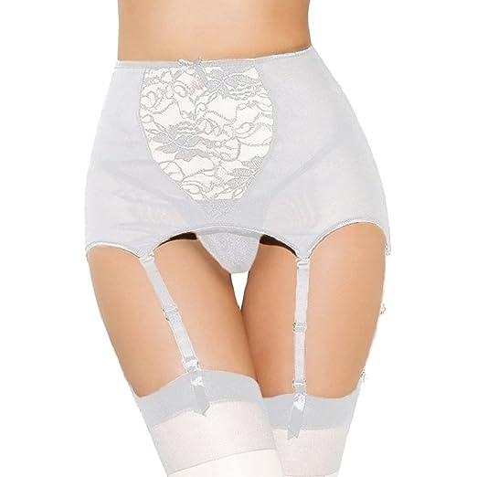 6cdc813a0 Amazon.com  Women Sexy Babydoll High Waisted Lace Hollow Garter Belt + G- string Thong Set (XL