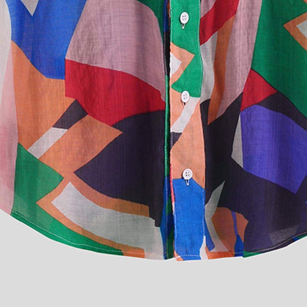 Mr.Macy Mens Patchwork Hit Color Printed Turn Down Color Short Sleeve Casual Shirts
