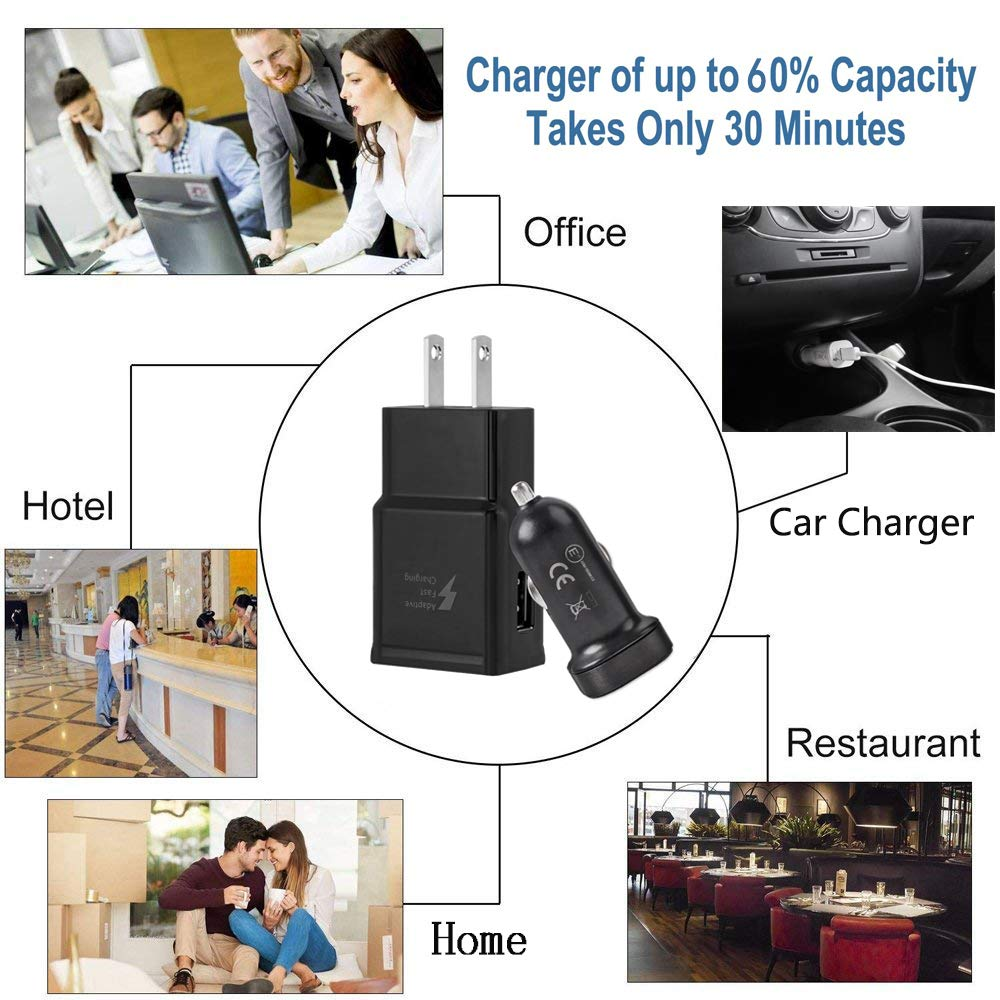 Quick Charger-Black Wall Charger + Car Charger + 2 x Type C USB Cables Adaptive Fast Charger Kit for Samsung Galaxy S10// S10e// S9//S8//S8 Plus//Note 8//9,LaoFas USB 2.0 Recharger Kit
