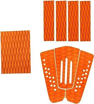 MonkeyJack 8 Pieces Orange Non-Slip Diamond Grooved EVA Surfboard Skimboard Shortboard Surf Traction Pad Deck Grip Tail Pads Accessories