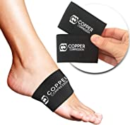Copper Compression Copper Arch Support - 2 Plantar Fasciitis Braces/Sleeves. Guaranteed Highest Copper Content. Foot Care, H