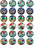 THE LITTLE MERMAID 24 EDIBLE WAFER - RICE PAPER CAKE TOPPERS EACH DESIGN IS 40mm IN DIAMETER