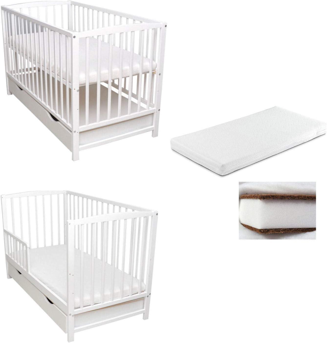 Barrera protectora para cuna de bebé, 2 en 1, 120 x 60 cm, color blanco, colchón convertible en cajón de cama infantil