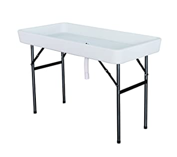Charmant Ice Cooler Folding Table Plastic With Matching Skirt White 4 Foot