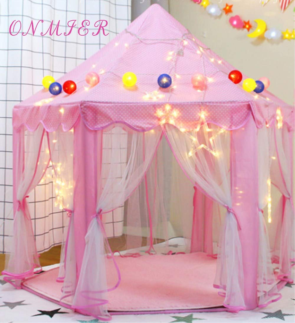 ONMIER Pink Princess Castle Kids Play Tent Children Playhouse Great Birthday Gifts For 1 10 Years Old Kids Toys Indoor And Outdoor Use Pink Colorful Ball Not Include