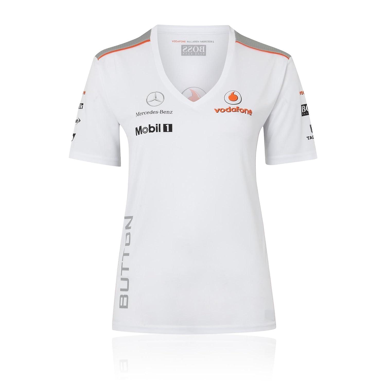 McLaren Vodafone Mercedes 2013 Jenson botón de la Mujer de Manga ...