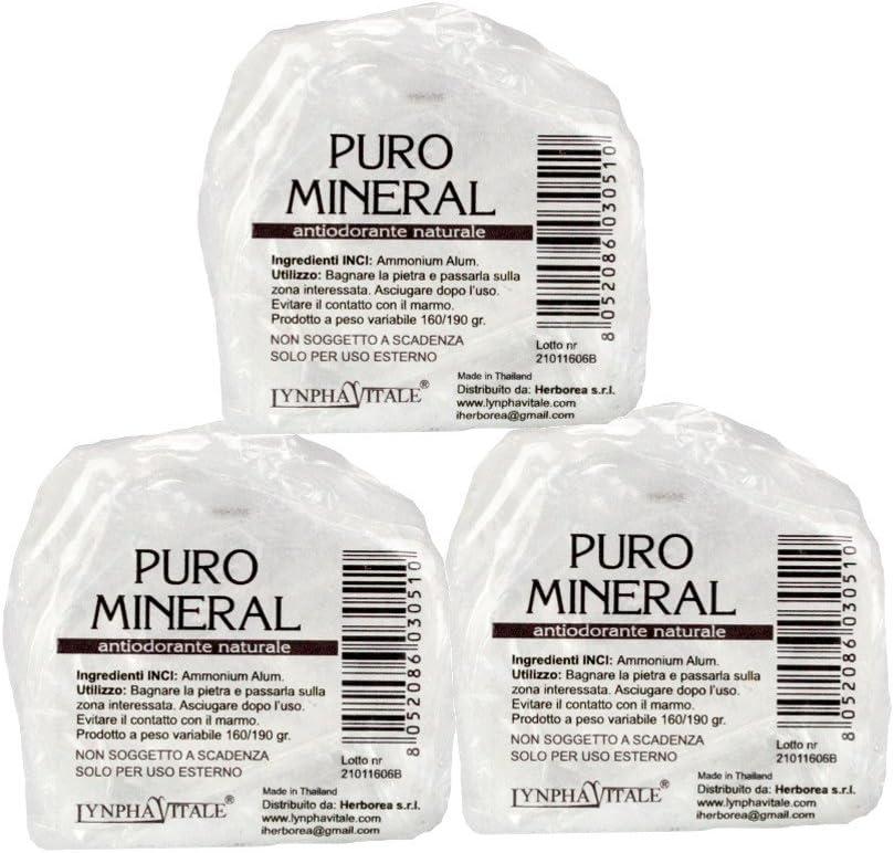 Desodorante de Alumbre de Amonio Natural en Piedra en Bruto – Kit de pesas 500/525 gr - Puro Mineral - Cantitad: 3/5 piedras