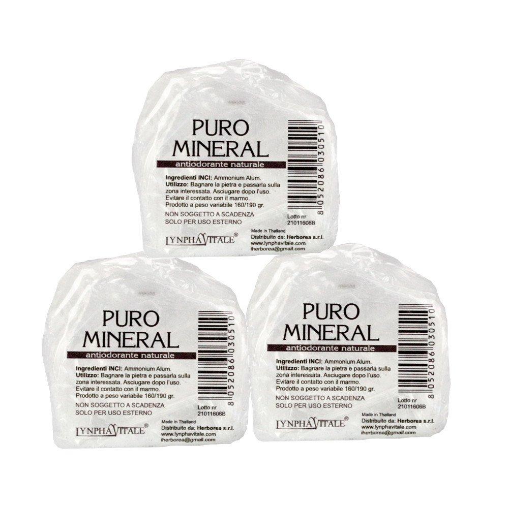 3 x Puro Mineral Crystal - Anti-perspirant stones Herborea Srl