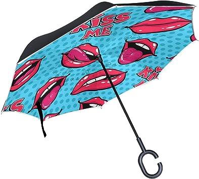 Paraguas invertido con diseño de Lunares Rojos y Doble Capa para ...